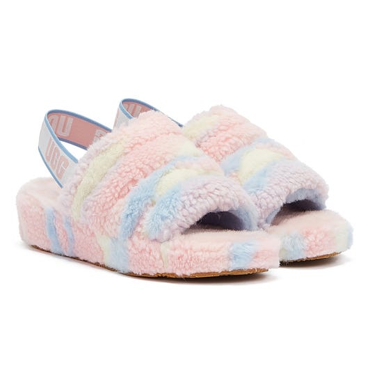 UGG Fluff Yeah Cali Collage Pride Womens Light Blue / Light Pink Slippers