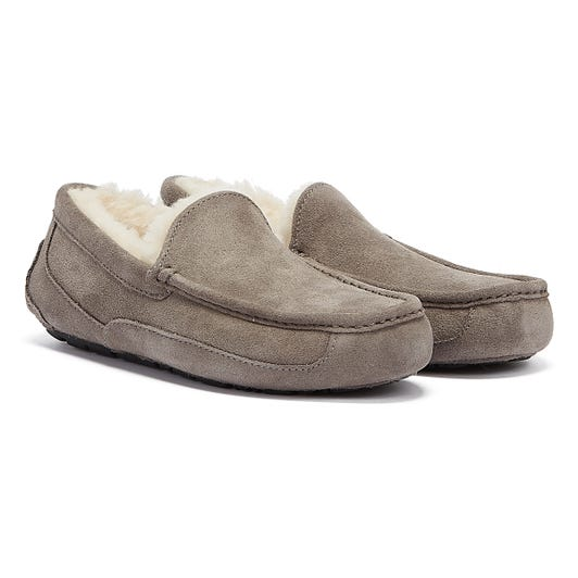 UGG Ascot Moccassin Suede Mens Grey Slippers