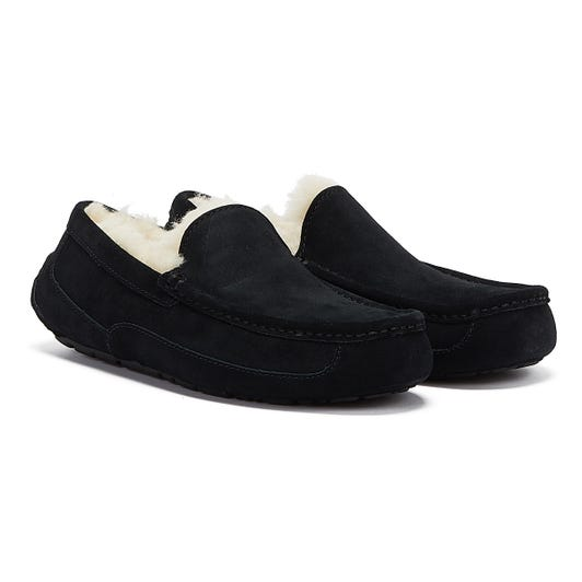 UGG Ascot Moccassin Suede Mens Black Slippers