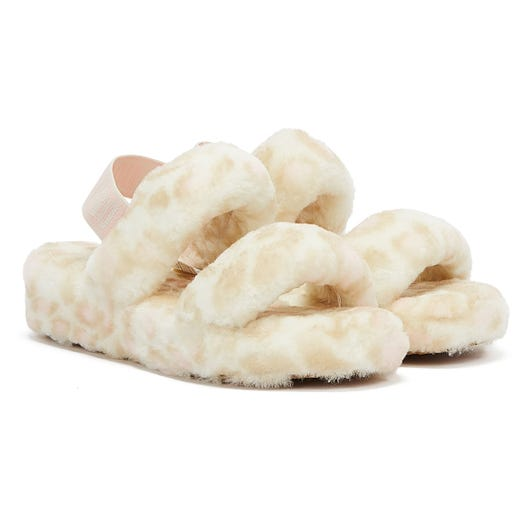 UGG Oh Yeah Panther Print Womens White Slippers