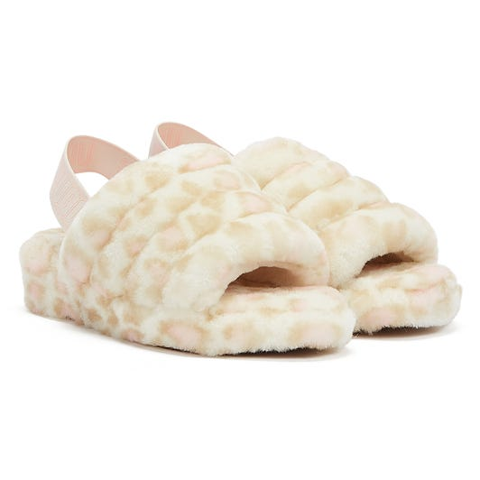 UGG Fluff Yeah Panther Print Womens White Slippers