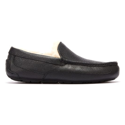 UGG Ascot Leather Mens Black Slippers