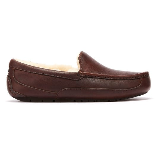 UGG Ascot Leather Mens Brown Slippers