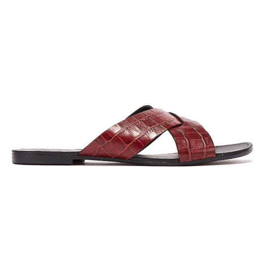 Vagabond Tia Crossover Embossed Leather Womens Dark Red Sandals