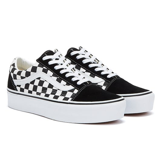 Vans Old Skool Platform Check Womens Black / White Trainers