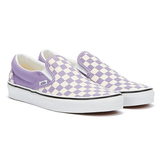 Vans Checkerboard Classic Slip On Womens Violet White Trainers