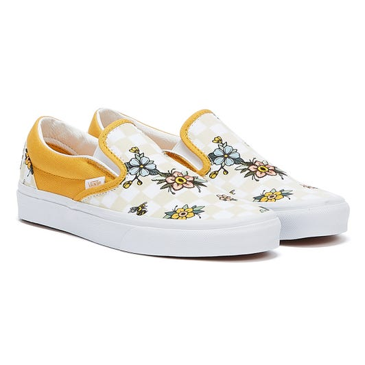 Vans Cottage Check Slip On Womens Yellow / Black / White Trainers