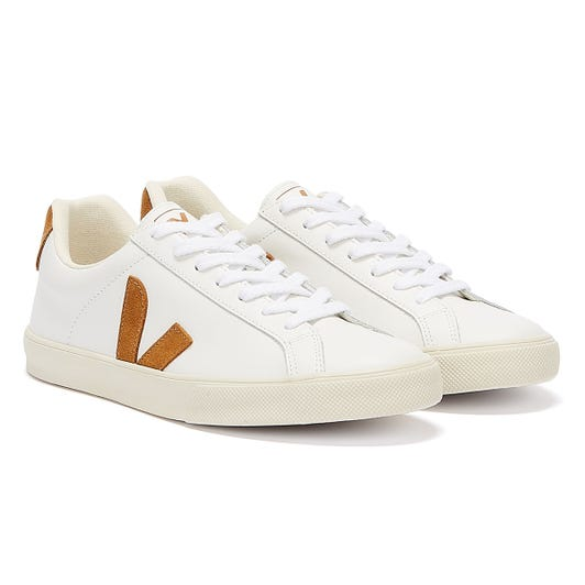 Veja Esplar Leather Womens Extra White / Camel Trainers