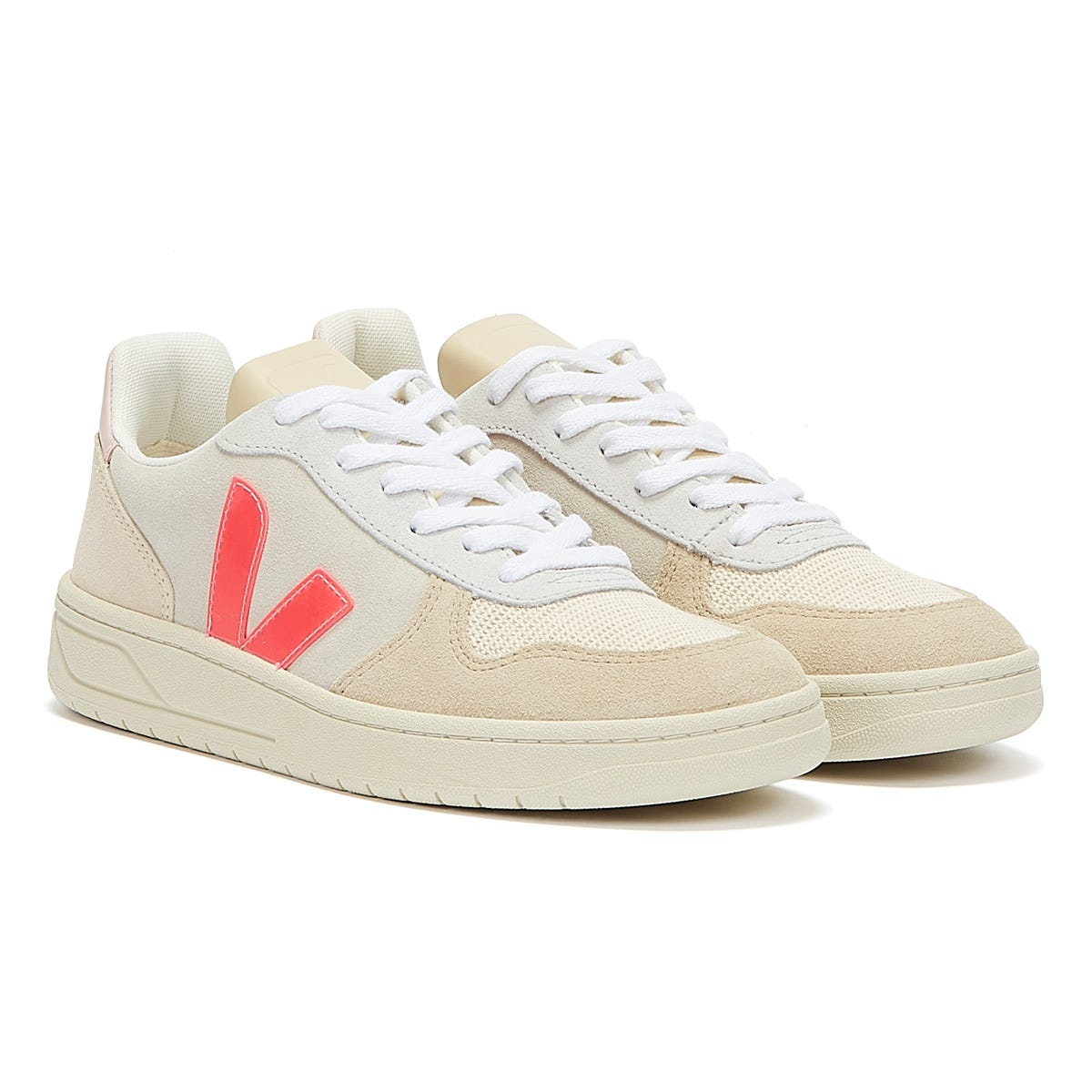 Trainers & Running Shoes Veja V-10 Suede Womens Multico / Natural / Rose Fluo Trainers