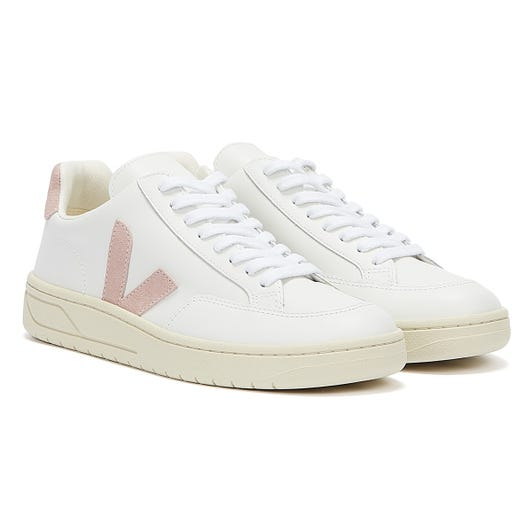 Veja V-12 Leather Womens Extra White / Babe Trainers