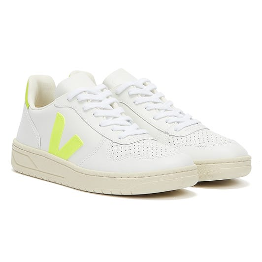 Veja V-10 Leather Womens Extra White / Jaune Fluo Trainers