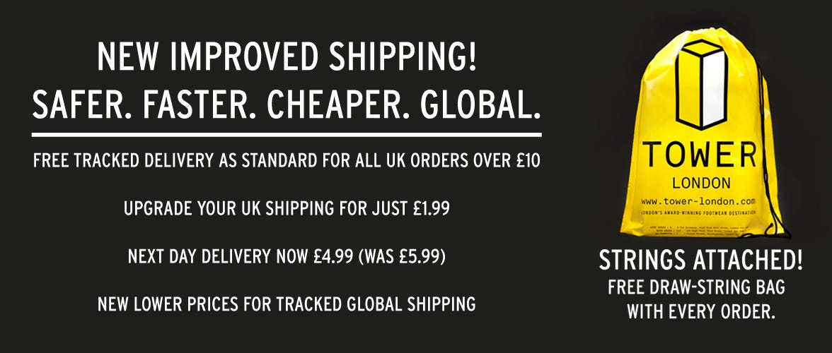 NEW SHIPPING RATES AND FREE TOWER LONDON BAG!