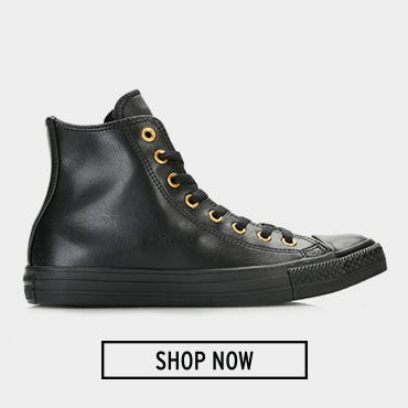 Converse All Star Chuck Taylor Black/Gold Craft SL Hi Top Trainers